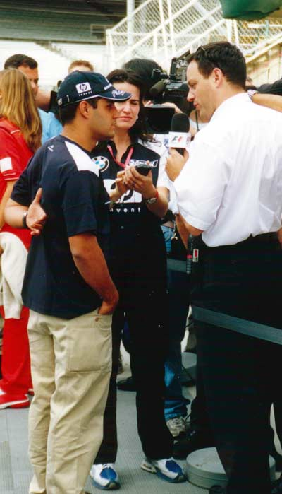 Juan Montoya giving an interview